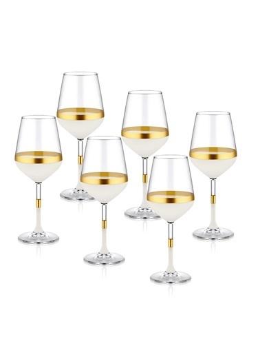 The Mia Snow Şarap Kadehi 6 Lı Set  Altın